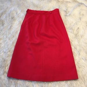 Vintage Red Wool A-line Skirt